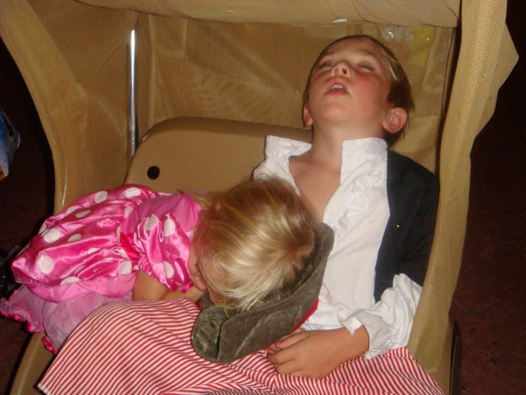 kids in double rental stroller at Disney World