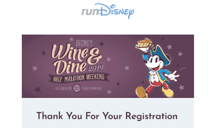 runDisney registration email